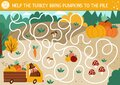 Thanksgiving Day maze for children. Autumn holiday preschool printable activity. Fall labyrinth game or puzzle with cute bird Royalty Free Stock Photo