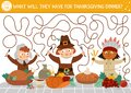 Thanksgiving Day maze for children. Autumn holiday preschool printable activity. Fall labyrinth game or puzzle with first Royalty Free Stock Photo