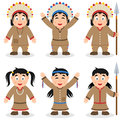 Thanksgiving Day Native Characters Set Royalty Free Stock Photo