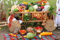 Thanksgiving day photo heavy crop stock images vegetables in the cart pumpkins cabbage baskets of tomatoes grapes berries onion Stock Image