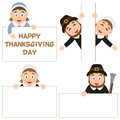 Thanksgiving day pilgrim and banners set collection of five cartoon characters with blank banner in different positions Stock Photos