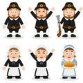 Thanksgiving Day Pilgrim Characters Set