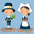 Thanksgiving Day Pilgrim Couple Stock Photography