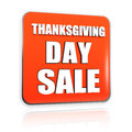 Thanksgiving day sale orange banner button d with white text business holiday concept Stock Photography