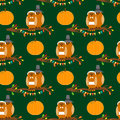 Thanksgiving day seamless pattern with owls on the tree branch in pilgrim costume