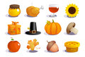 Thanksgiving day symbols collection Royalty Free Stock Photo