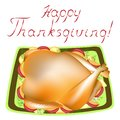 Thanksgiving Day. On the table, a delicious juicy roast turkey with garnish. Symbol of the holiday. Vector illustration