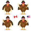 Thanksgiving day turkey characters set collection of four cartoon in different positions and expressions isolated on white Royalty Free Stock Photo