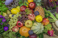 Thanksgiving decoration with fruits and flowers Royalty Free Stock Photo