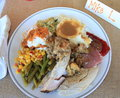 Thanksgiving diner a plate of delicious food on a special holiday Royalty Free Stock Photography