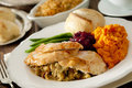 Thanksgiving dinner closeup of a traditional Royalty Free Stock Photo