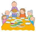 Thanksgiving dinner hand drawn picture of illustrated in a loose style vector eps available Stock Photography