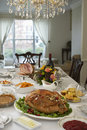 Thanksgiving dinner on table in elegant home Stock Image