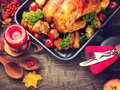 Thanksgiving dinner table served with turkey