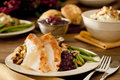 Thanksgiving dinner traditional turkey with cranberry sauce stuffing green beans mushrooms and mashed potatoes Stock Image