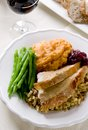 Thanksgiving dinner traditional turkey with cranberry sauce stuffing green beans and sweet potato casserole Stock Images