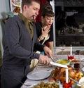 Retro Family Thanksgiving Holiday Dinner Turkey Carving