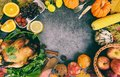 Thanksgiving dinner with turkey vegetable fruit served on holiday thanksgiving table Celebration Traditional Setting Food or