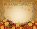 Thanksgiving Fall Leaves and Flowers border design Stock Photo