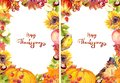 Thanksgiving flyer 5x7 - autumn leaves and flowers, pumpkin, birds, fruits and vegetables - apple, grape, nuts, berries