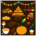 Thanksgiving food collection Royalty Free Stock Photo