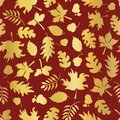 Thanksgiving Gold foil autumn leaf pattern tile