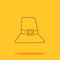 Thanksgiving hat cute icon in trendy flat style isolated on color background.