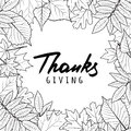 Thanksgiving holiday banner with linear black and white autumn leaves and calligraphy lettering.