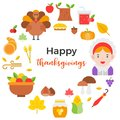 Thanksgiving icon arrange as circle shape and happy thanksgiving Royalty Free Stock Photo