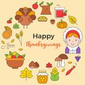Thanksgiving icon arrange as circle shape and happy thanksgiving
