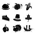 Thanksgiving icons a set of black and white for the holiday will work with backgrounds of different color Royalty Free Stock Image
