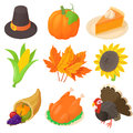 Thanksgiving icons set, cartoon style