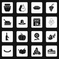 Thanksgiving icons set squares vector