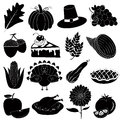 Thanksgiving icons vector set black for usage Stock Photography