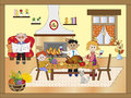 Thanksgiving illustration with happy family for Stock Image