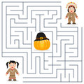 Thanksgiving Maze for Kids - Native Royalty Free Stock Photo