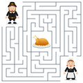Thanksgiving Maze for Kids - Pilgrims Royalty Free Stock Photo