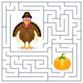 Thanksgiving maze for kids turkey game children help the cute find the way to the pumpkin to celebrate day eps file Royalty Free Stock Image