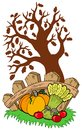 Thanksgiving motive with tree Royalty Free Stock Image