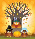 Thanksgiving owls thematic image 6 Royalty Free Stock Photo