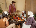 Thanksgiving pilgrim family Stock Photos