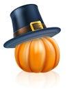 Thanksgiving pilgrim hat pumpkin cartoon wearing a or puritan flat topped on top Stock Image