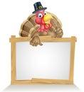Thanksgiving pilgrim hat turkey sign with cartoon bird wearing a or puritan Royalty Free Stock Images