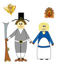 Thanksgiving pilgrims cartoons Stock Photo