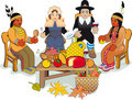 Thanksgiving Pilgrims and Indian Couple Stock Photo