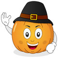 Thanksgiving pumpkin with pilgrim hat a cheerful cartoon character smiling and wearing a isolated on white background eps file Stock Photos