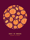 Thanksgiving pumpkins circle decor pattern vector background with hand drawn elements Stock Photography