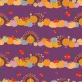 Thanksgiving pumpkins cranberries turkey seameless pattern