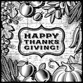 Thanksgiving Retro Card black and white Royalty Free Stock Photos