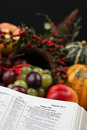 Thanksgiving Scripture and cornucopia Stock Image